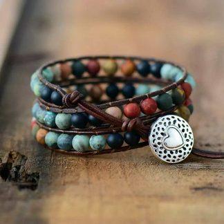Natuurlijke armband/enkelband, met keramiek of edelstenen, voor rust, balans, anti-teek